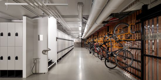 A secure bike racks and lockers room at Collins Square